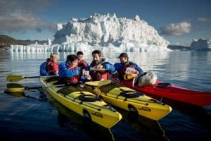 Undiscovered Greenland sea kayakers take a break