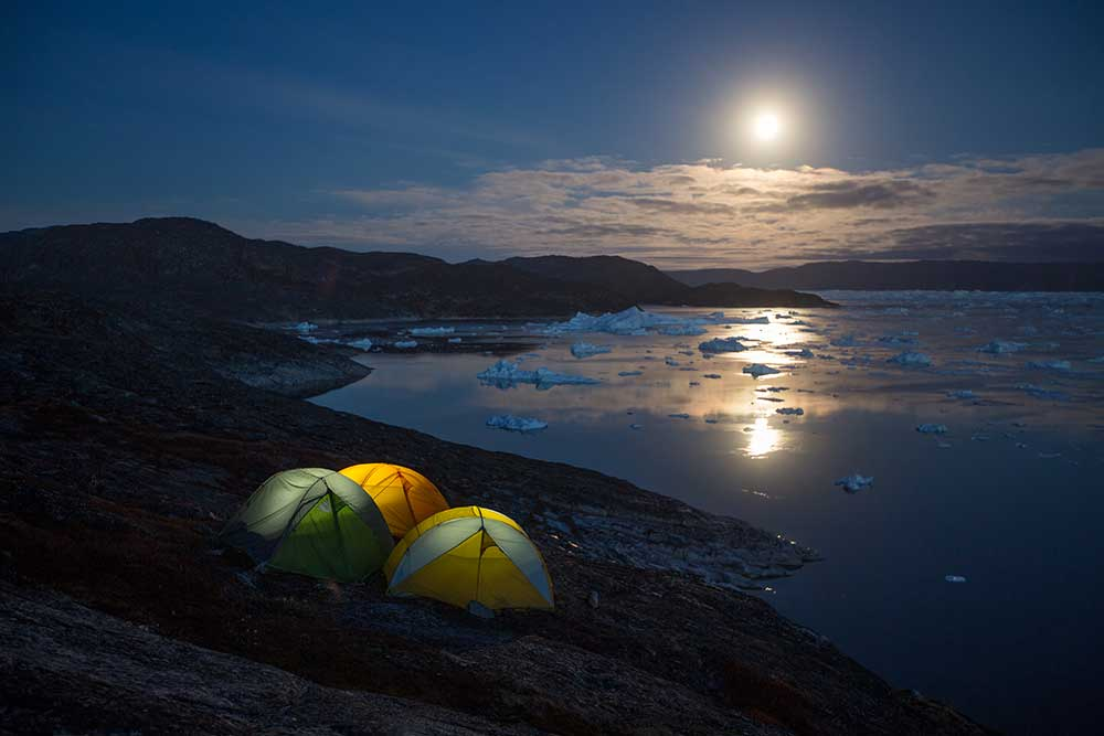 Undiscovered Greenland Camping ilulissat ice fjord, north Greenland