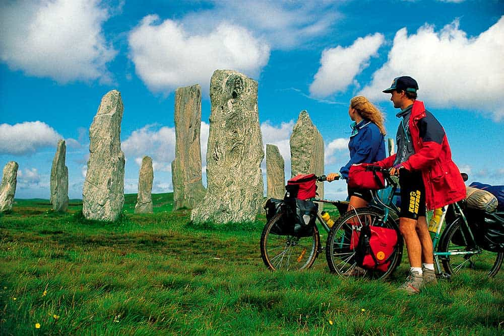 Cyclists amid Callanish standing stones