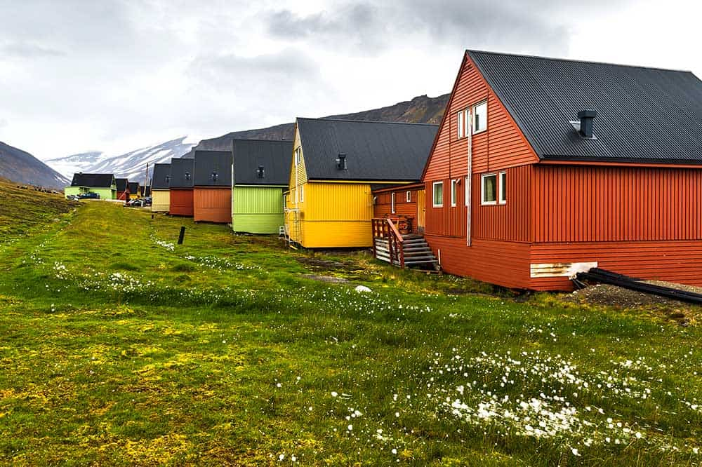 Longyearbyen's colourful houses travel Svalbard