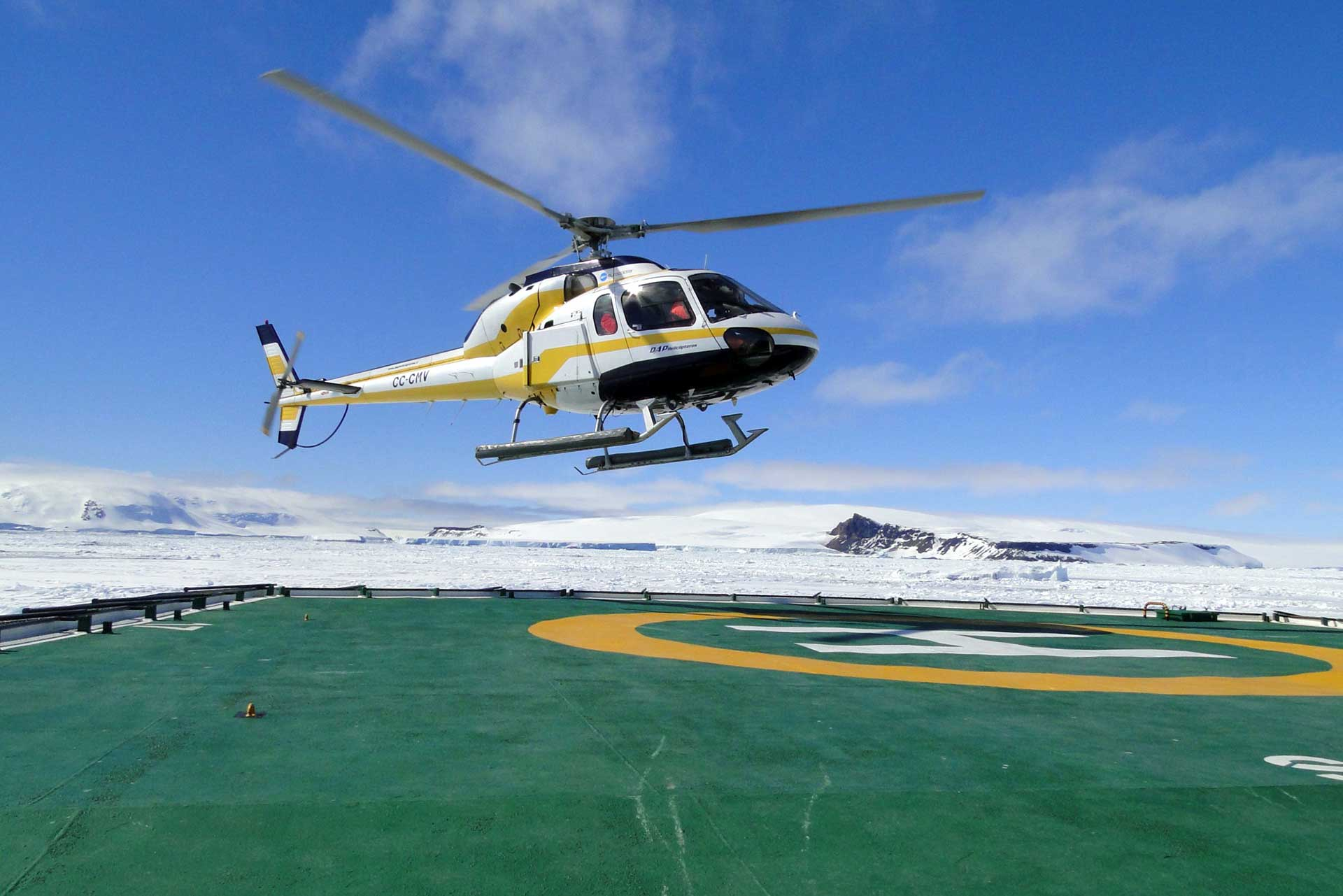 Helicopter departure Weddell Sea Expedition